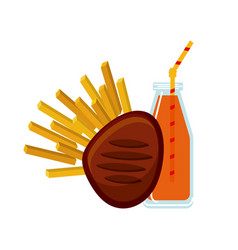 Meat and french fries icon vector