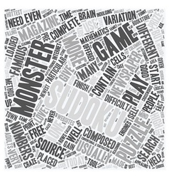 monster sudoku text background wordcloud concept vector image