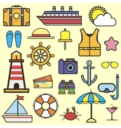 Outline web icon set of journey vacation cruise vector