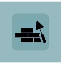 Pale blue building wall icon vector