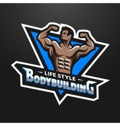 Posing bodybuilder sport emblem vector image
