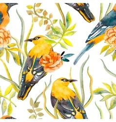 Seamless pattern of birds and plants Bird pattern vector image vector image