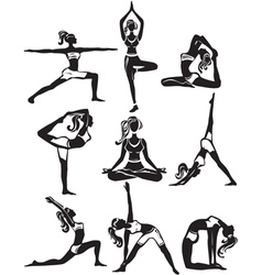 Set of meditating and doing yoga poses vector image vector image