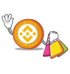 Shopping binance coin character catoon vector