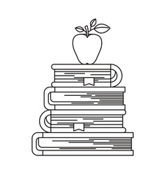 Sketch silhouette of stack of books with apple vector