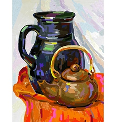 Still life with a tea pot and jug vector