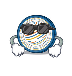 Super cool factom coin character cartoon vector