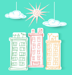 Town freehand sun and clouds vector