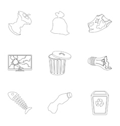 Trash and garbage set icons in outline style Big vector image