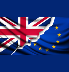Two torn flags - eu and uk brexit concept vector