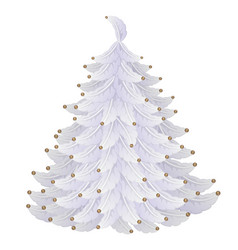 white christmas tree made of feathers and beads vector image vector image