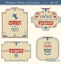 Wild west american labels vintage boards isolated vector