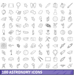 100 astronomy icons set outline style vector
