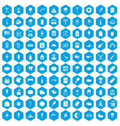 100 street food icons set blue vector