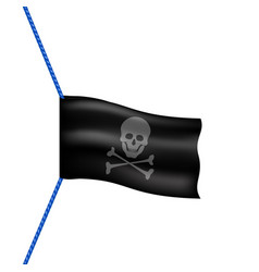 Pirate flag with skull symbol hanging on blue rope vector