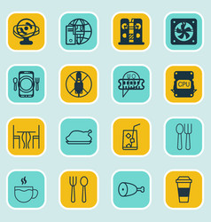Set of 16 cafe icons includes dining tea lemon vector