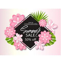 summer sale banner poster with jungle leaf vector image