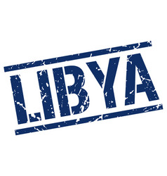 Libya blue square stamp vector
