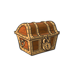 Closed locked wooden treasure chest vector