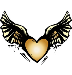 Winged heart vector