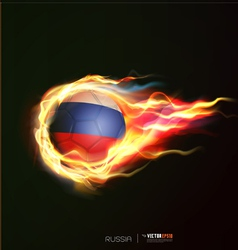 Russia flag with flying soccer ball on fire vector