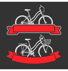 Bicycles and ribbons vector image
