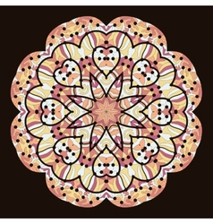 Kaleidoscopic unusual mandala of brown color vector