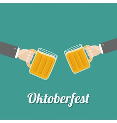 Oktoberfest two hands and clink beer glasses mug vector