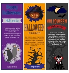 Halloween party flyers set vector
