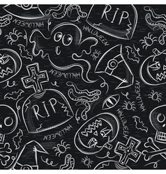 Seamless pattern with halloween objects on blackbo vector