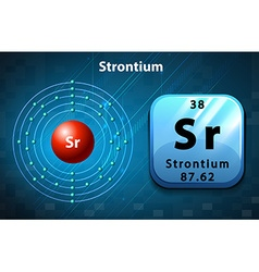 Symbol and electron diagram for strontium vector