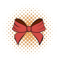 Red bow comics icon vector