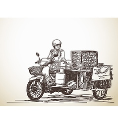 Asian street food on motorbike vector