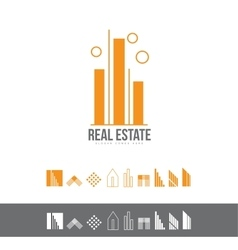 Real estate line lineart logo icon set vector