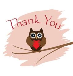 Owl thanks heart vector