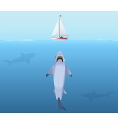 Hungry shark with big jaw attack yacht sheep from vector