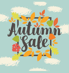 Autumn sale design with colorful autumn leaves vector