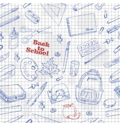 Back to School doodles seamless pattern on a paper vector image
