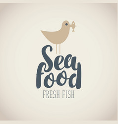 Banner for seafood with seagull fish and words vector