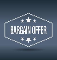 Bargain offer hexagonal white vintage retro style vector