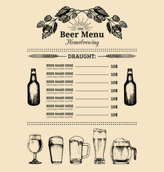Beer menu design template pub restaurant vector