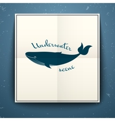 Big blue whale poster vector image