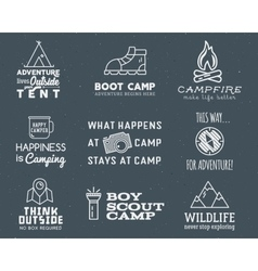 Camping logo design set with typography and travel vector image vector image