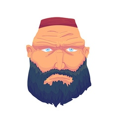Cartoon brutal man face with beard and red hat vector