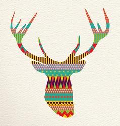 Christmas deer art in fun colors vector image vector image