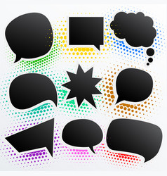 Collection of black comic empty chat bubble vector