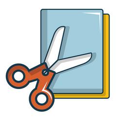 Colorful paper scissors icon cartoon style vector