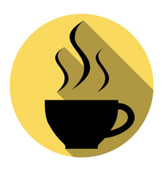 Cup of coffee sign flat black icon with vector