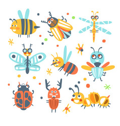 Cute cartoon bugs set funny insects colorful vector