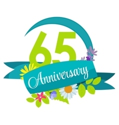 Cute nature flower template 65 years anniversary vector